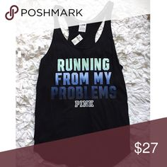 Running From my Problems Tank Top New with tags. Sold out. PINK Victoria's Secret Tops Tank Tops