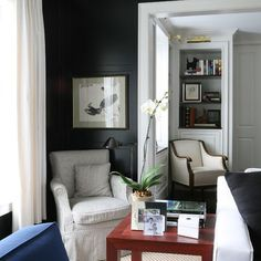 """Black walls, paint colors identified giving accent colors used, white trim. Walls Black Soot""""BLACK WALL (SATIN FINISH) AGAINST CRISP WHITE"""