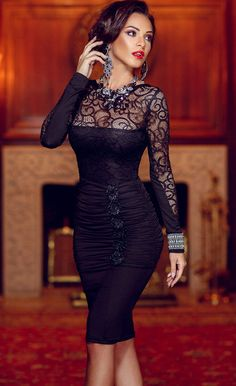 $29.99 Lace Ruched Bodycon Midi Dress