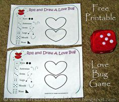 Free Printable Roll a Love Bug Game - Artsy Momma