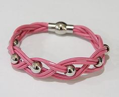 Pink Leather Bracelet, with Stainless Steel Magnetic Clasp. You'll love it!