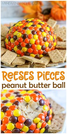 Reeses Pieces Peanut Butter Ball Recipe- fun fall cheeseball version to bring to a party. Thanksgiving dessert idea to share. Fun fall colors treat idea. Dip in graham crackers or cookies.