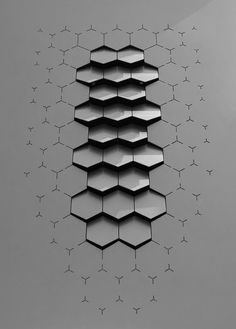 tessellation is used in this vent design through the use of repeated hexagonal shapes. A raised texture is also felt here and is amplifies as the viewers eyes move to the top of the image. Parametrisches Design, Module Design, Pattern Design, Creative Design, 3d Pattern, Sport Design, Design Ideas, Design Trends, Industrial Interiors