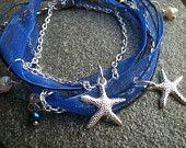 Starfish Charm Bracelet, Wrap bracelet, Freshwater pearls, Organza Ribbon, Moonlight Blue starfish bracelet, cotton cord, silver tone chain