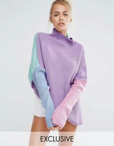 Lazy Oaf High Neck Sweater With Eyes Embroidery In Color Block