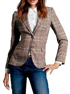 FACE N FACE Womens Cotton Long Sleeve Slim Short Blazer Suit Jacket Brown Medium -- Details can be found by clicking on the image.