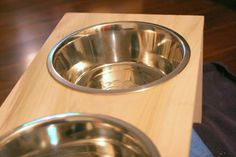 Easily create a DIY dog dish stand for your pet to use during meals.