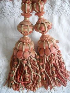 french passementerie | PAIR ANTIQUE FRENCH TASSELS SILK PASSEMENTERIE LYON OLD ROSE AND CREAM
