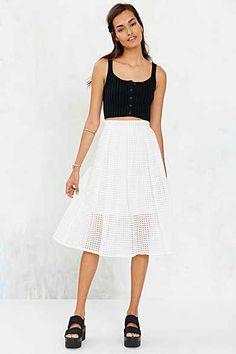 Silence + Noise Sheer Gingham Midi Skirt