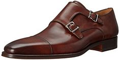 Magnanni Men's Cotillas Oxford Cap-toe oxford featuring smooth-leather upper with dual monk straps Low stacked heel