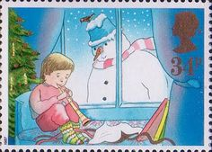 Christmas 34p Stamp (1987) Child playing Flute and Snowman