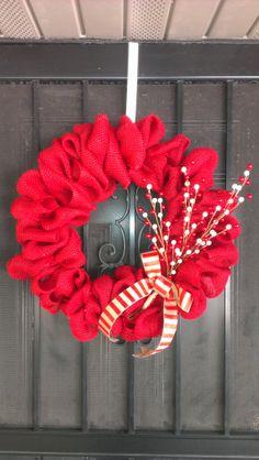 Burlap Christmas Wreath on Etsy, $30.00