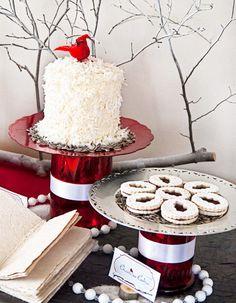 Cardinal Red & Birch Bark Holiday Dessert Table