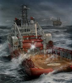 Robert Lloyd is a Marine Artist with a worldwide reputation for producing visually stunning and technically accurate paintings for the Marine Industry, Private Individuals and Museum collections. Nautical Painting, Nautical Art, Merchant Navy, Merchant Marine, Ship Paintings, Seascape Paintings, Rc Boot, Oil Platform, Sea Storm