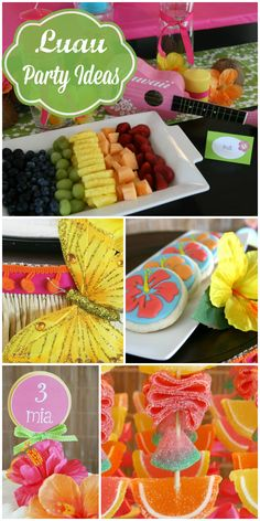 A pretty Luau girl party in pink and orange with a great backdrop and decorations! See more party ideas at CatchMyParty.com!