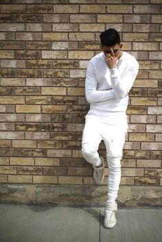 e02848753a9 White long sleeved fitted crewneck or thermal White joggers High top white  converse (not these · All White Mens OutfitAll White Party OutfitsMen ...