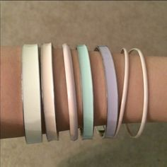 Pastel color bangle set Pastel color bangle set.  7 pieces total.  Approximately 2.625 inches in diameter (see second picture) H&M Jewelry Bracelets