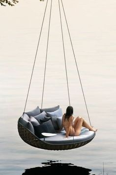 ❦ hanging chairs and lounges. Epic hanging chair - yes, this is a REAL product! Cool Furniture, Furniture Design, Hanging Beds, Hanging Chairs, Outdoor Living, Outdoor Decor, Cozy Place, Swinging Chair, My Dream Home