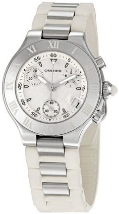 Cartier Women's W10197U2 Must 21 Chronoscaph Stainless Steel and White Rubber Chronograph Watch