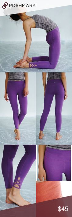 """Free People FP Movement Ventura Pant Worn to yoga a few times. Great condition! Has a couple of what look like scratch marks, but I've washed these out before, so they should wash out! Either way, not noticeable. Orange photo to show texture–any look of pre-pilling is just how the fabric is made. Color is not as purple as stock photos, but is the same color as the Jules cami I have listed. """"Essential crop legging with strappy lattice picot performance detailing along the hem in our soft…"""
