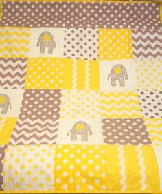 Grey and Yellow with Elephant appliqued Baby by woobiesandwonders, $159.99