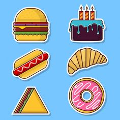 Food Stickers, Vector Design, Packing, Bag Packaging