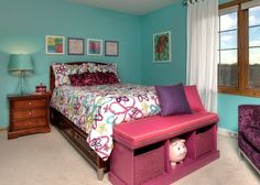 Gorgeous Teenage Girls Bedroom Design Ideas: Gorgeous Light Blue Wall Colors On Teenage Girls Bedroom With Purple And Pink Cushions Also Big Piggy Bag And Wooden Night Table Also Green English Lamp With Purple Sofa Design Also Rustic White Curtains ~ ericpoll.com Bedroom Inspiration