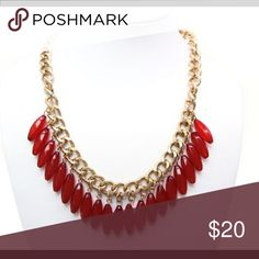 """💝Medium Red Necklace With Dangling Beads💝 Long red necklace. Statement. Thick-link 19"""" , Hanging oval stones💝 Red Beaded Fashion Jewelry Necklaces"""