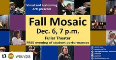 Take a break from the books tomorrow night!  #Repost @wsuvpa  Fall semester is almost at an end. Come hear the musical sounds of what Worcester State students have accomplished this semester at Fall Mosaic Dec. 6 at 7 p.m. in Fuller Theatre. #WooState