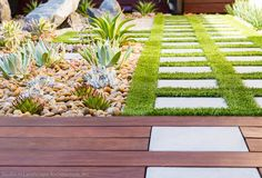 Artificial grass: think of artificial lawns like carpet, where the pile height and the density of the fibres determines the feel of the finished product. A basic lawn will start with an 8mm blade length, but manufacturers produce grass with blade lengths up to 36mm, which is 'a really dense grass type' and creates 'a more natural looking lush lawn' that feels lovely to walk on. On hard surfaces they are laid on a foam pad.   Studio H Landscape Architecture via houzz