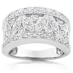 Add a contemporary look to any wardrobe with this white gold diamond ringRing features 37 pave-set round diamondsPerfect addition to your jewelry collection