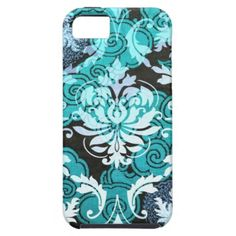 Diamond Damask, SHANGHAI in Teal Iphone 5 Covers