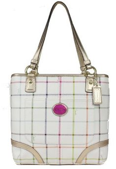 4da61a880655f Coach Heritage Tattersall Coated Canvas Tote Bag Multicolor Gold 19174 This  screams Spring