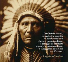 Oh Grande Spirito, concedimi la serenità di accettare le cose che non posso cambiare. Il coraggio di cambiare le cose che posso cambiare. E la saggezza di capirne la differenza. Preghiera Cherokee  seguici su www.visioneolistica.it