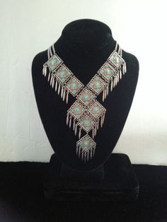Vintage Bib Necklace 1960's 1970's Collectible Vintage Faux Turquoise Fringe Statement Jewelry by MartiniMermaid on Etsy