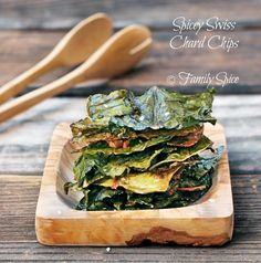 Move Over Kale Chips… Here Comes Chard Chips! Cut up your chard leaves into equal pieces. I cut mine into 2-inch squares. Then, toss with a bit of olive oil, season with sea salt, spicy chile pepper, garlic powder, whatever you like and bake in a 275º F oven for 40 minutes.