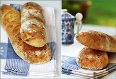 """Rustic Garlic Loaves. """"Once baked, the loaves were sliced and slathered with garlic butter – wonderful! Disappeared in no time, and looked rustic beautiful too. I loved the crust it got, and think this is a nice plan ahead dough to make, especially since it offers the option of a long rise in the fridge overnight!"""" from passionateaboutba..."""