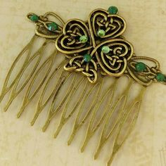 New: Ornate ireland hair comb with shamrock and rhinestones