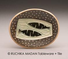 Two Fish oval dish Ruchika Madan by ruchika on Etsy