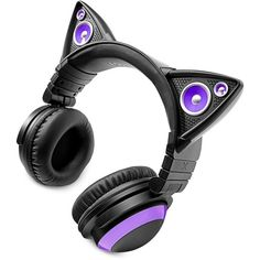 Brookstone Cat Ears Headphones (€90) ❤ liked on Polyvore featuring accessories, electronics, headphones, cats and purple