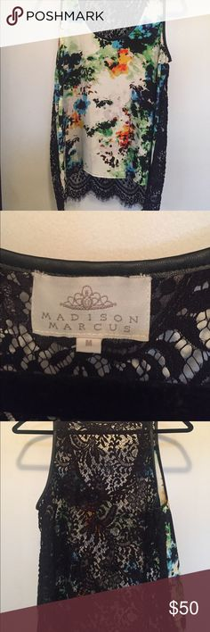 Madison Marcus Silk and Lace Tank Gorgeous like new Madison Marcus silk and Lace tank! Worn once. Perfect condition! Faux leather trim at neck and arms. Madison Marcus Tops