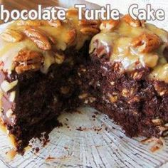 I love this Turtle Cake recipe. I've tried many and this one has it all; moist, decadent, delicious, chocolately goodness. It's great for a crowd because a little bit goes a long way. Love it! Easy Homemade Chocolate Turtle Cake .