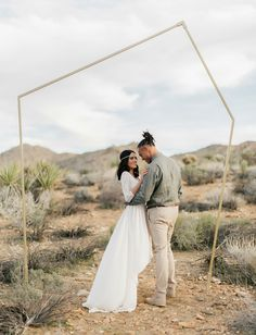 Joshua Tree elopement with a modern gold backdrop