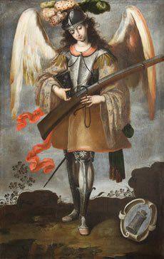Arcángel San Miguel    Anónimo limeño  Óleo sobre tela  9172 x114 cm  Col. Parroquia de Santa María la Mayor  Ezcaray, España