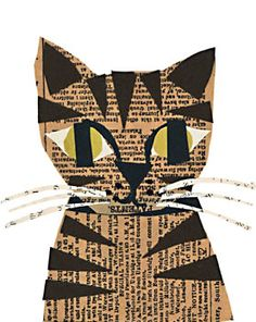 tabby cat paste piece: collage from old printed materials Cat Crafts, Animal Crafts, Book Crafts, Kids Crafts, Paper Collage Art, Newspaper Collage, Word Collage, Collage Artists, Cat Quilt