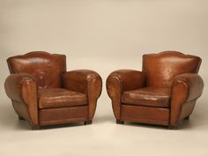 Restored French Art Deco, Original Moustache Leather Club Chairs - a Pair Antique Furniture For Sale, Art Deco Furniture, Vintage Furniture, Cool Furniture, Modern Furniture, Leather Furniture, Furniture Ideas, French Classic, French Art