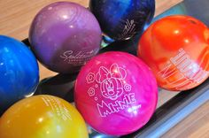 Minnie and Mickey bowling balls are available for purchase at Splitsville Luxury Lanes in Downtown Disney!