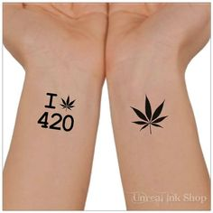 Temporary Tattoo 420 Tattoo Cannabis Marijuana  by UnrealInkShop, $4.85