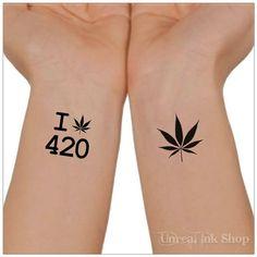 Temporary Tattoo 420 Tattoo Cannabis Marijuana  by UnrealInkShop, $4.85