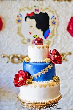 Incredible cake at a Snow White birthday party! See more party planning ideas at CatchMyParty.com!